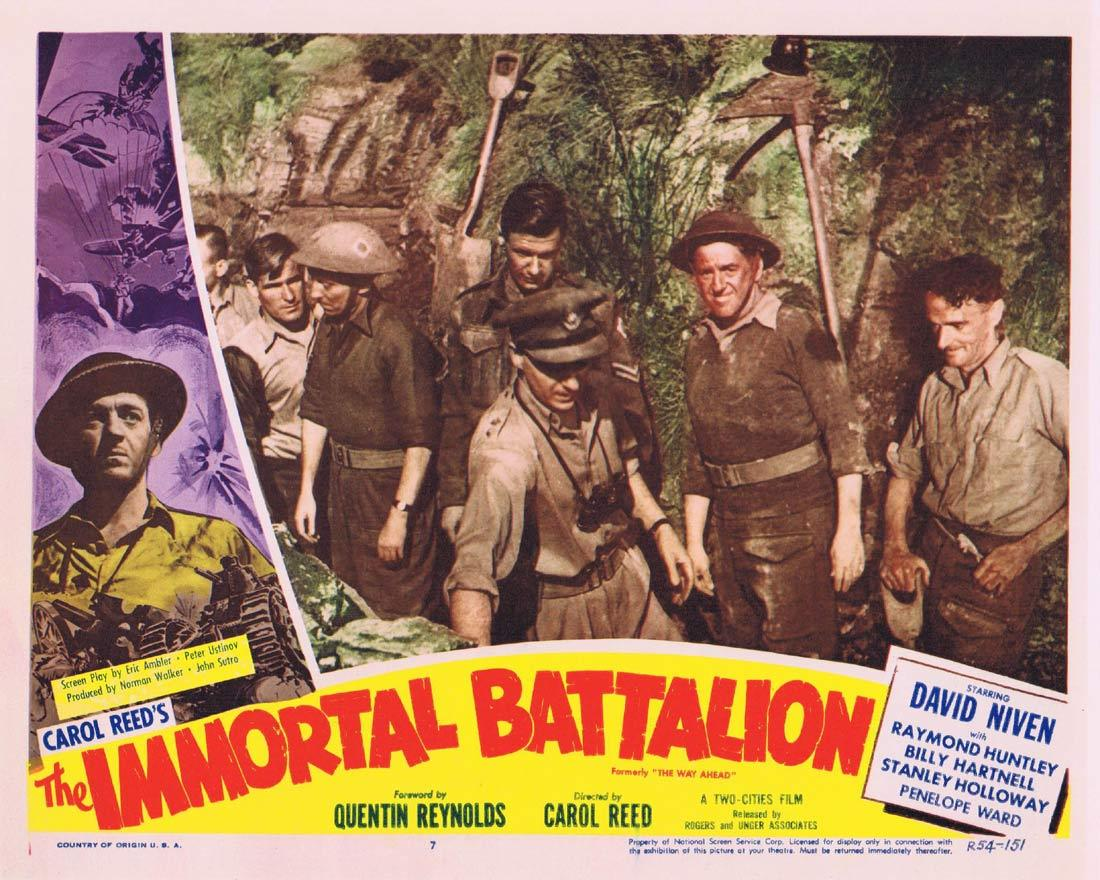 THE IMMORTAL BATTALION Lobby Card 7 David Niven Stanley Holloway William Hartnell 1954r