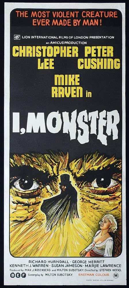 I MONSTER Original Daybill Movie Poster Christopher Lee Peter Cushing