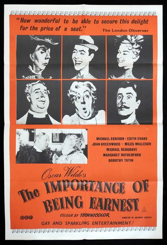THE IMPORTANCE OF BEING EARNEST Original One sheet Movie poster Margaret Rutherford 1970sr