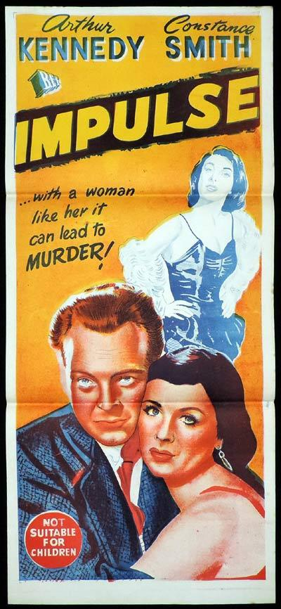 IMPULSE Daybill Movie poster Arthur Kennedy Film Noir