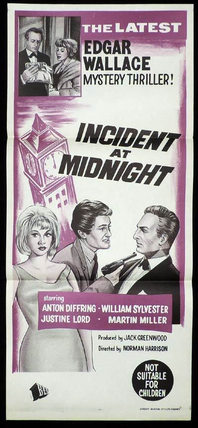 INCIDENT AT MIDNIGHT Daybill Movie poster Film Noir Edgar Wallace Theatre