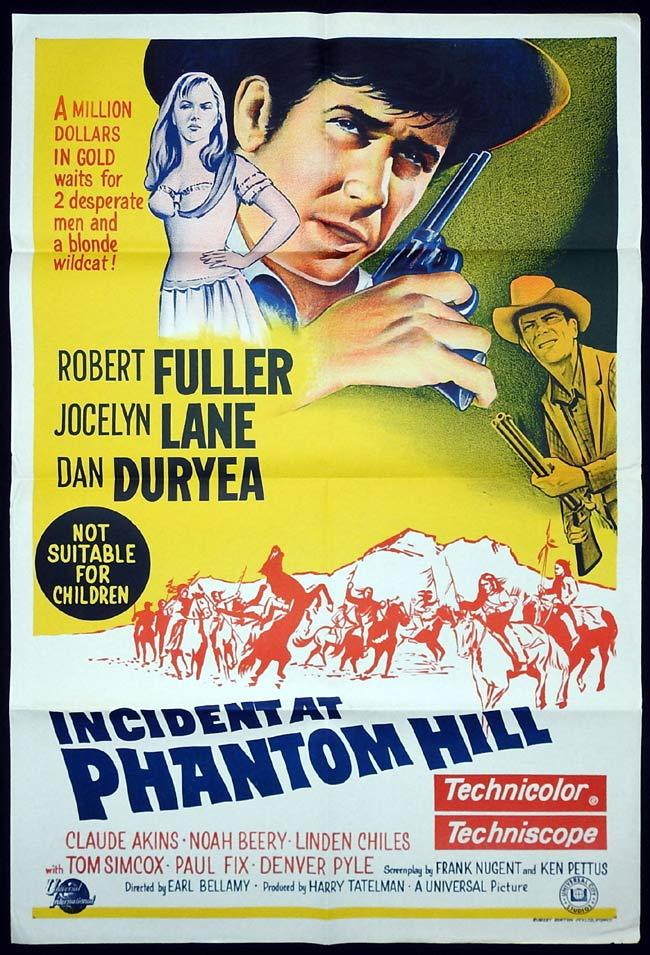 INCIDENT AT PHANTOM HILL Original One sheet Movie poster Robert Fuller Jocelyn Lane