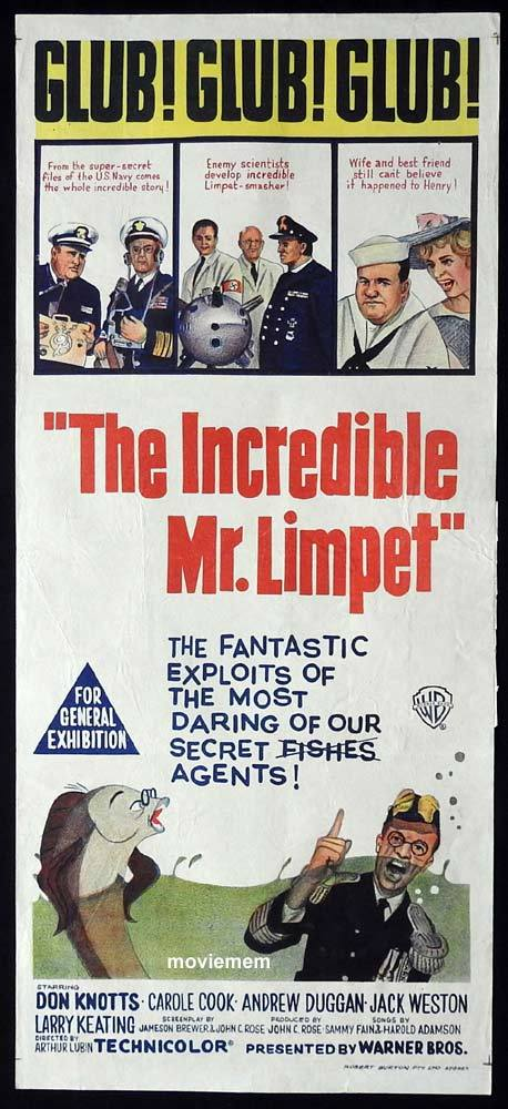 THE INCREDIBLE MR LIMPET Original Daybill Movie Poster Don Knotts Carole Cook