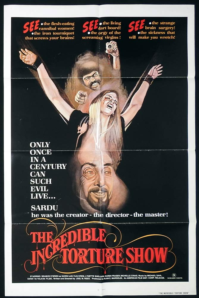 THE INCREDIBLE TORTURE SHOW Original US One Sheet Movie Poster Horror Bloodsucking Freaks