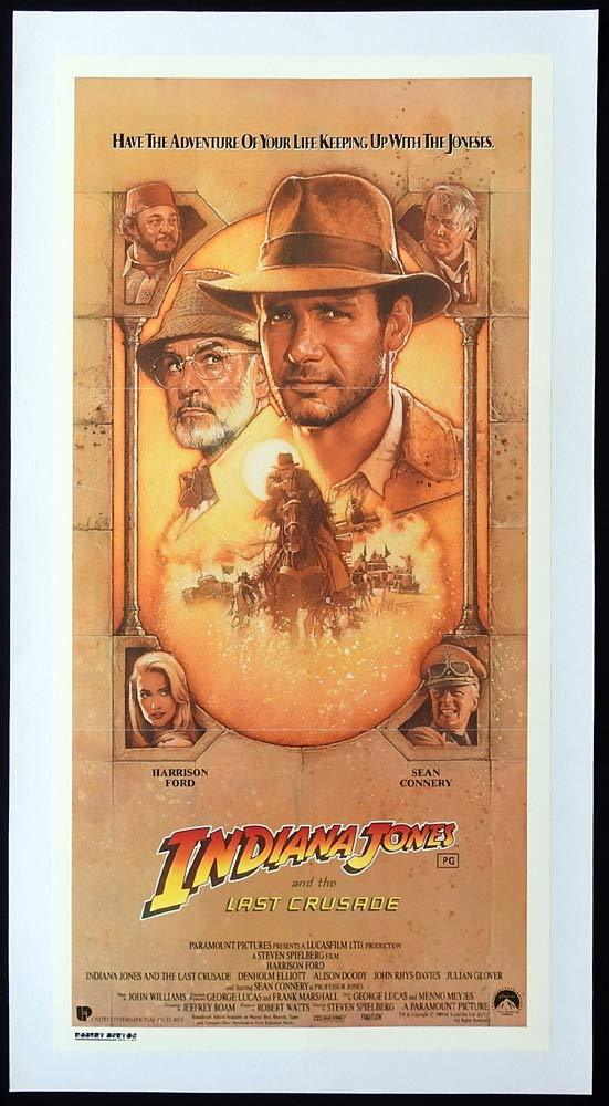 INDIANA JONES AND THE LAST CRUSADE Linen Backed Daybill Movie poster