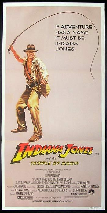INDIANA JONES AND THE TEMPLE OF DOOM '84 Whip Art daybill