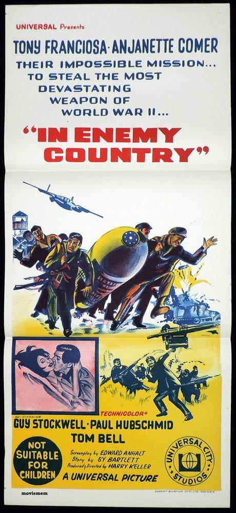 IN ENEMY COUNTRY Original Daybill Movie poster Tony Franciosa Anjanette Comer