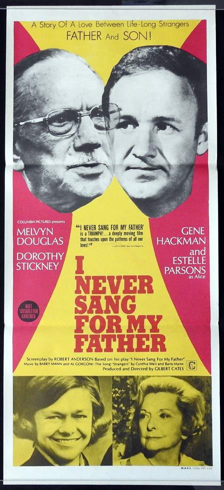I NEVER SANG FOR MY FATHER Original Daybill Movie Poster Melvyn Douglas Gene Hackman