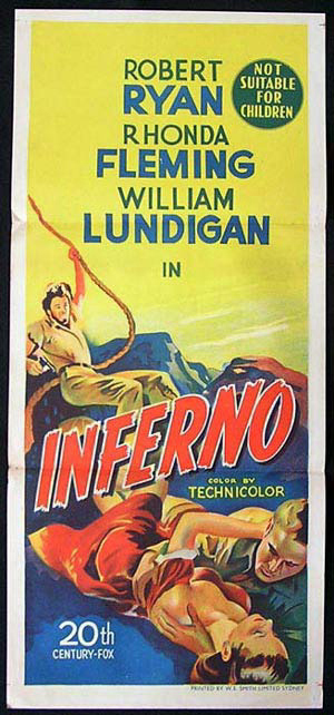 INFERNO Original Daybill Movie Poster Film Noir Robert Ryan Rhonda Fleming