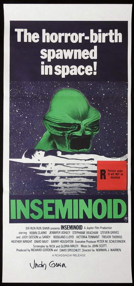 INSEMINOID Original Daybill Movie Poster Autographed by Judy Geeson