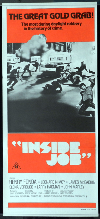 INSIDE JOB aka The Alpha Caper Daybill Movie Poster Henry Fonda