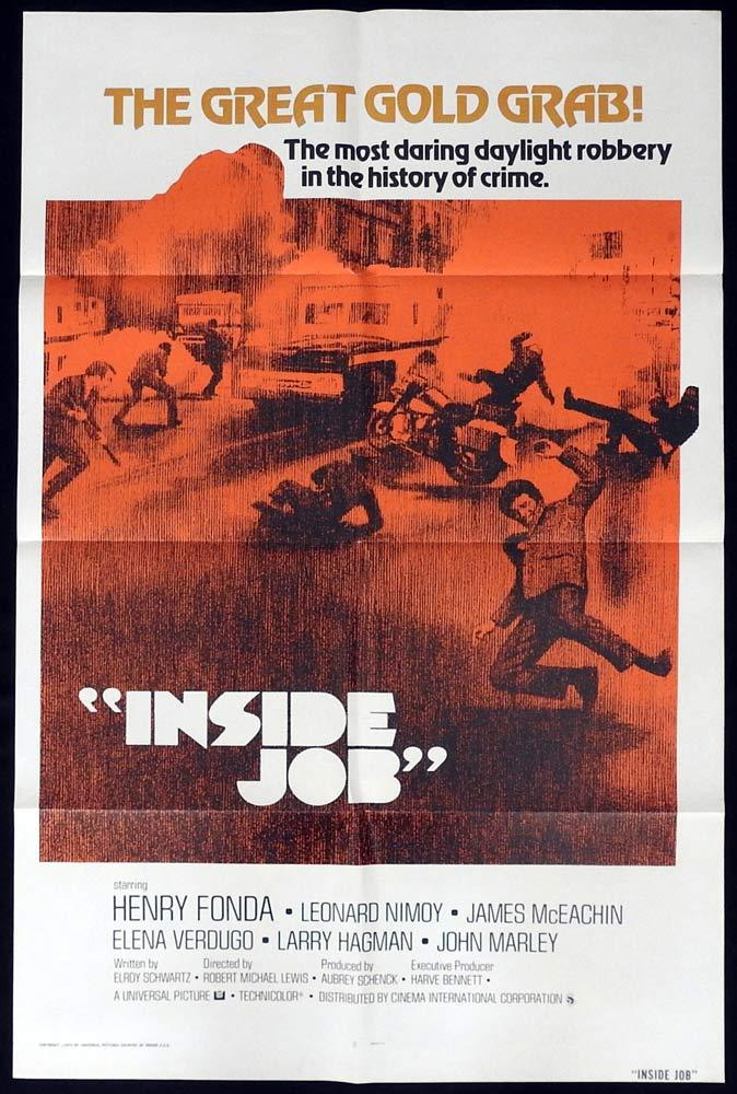 INSIDE JOB Original US One sheet Movie poster Henry Fonda Leonard Nimoy