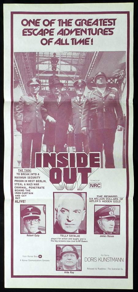 INSIDE OUT Original Daybill Movie Poster Telly Savalas Robert Culp James Mason