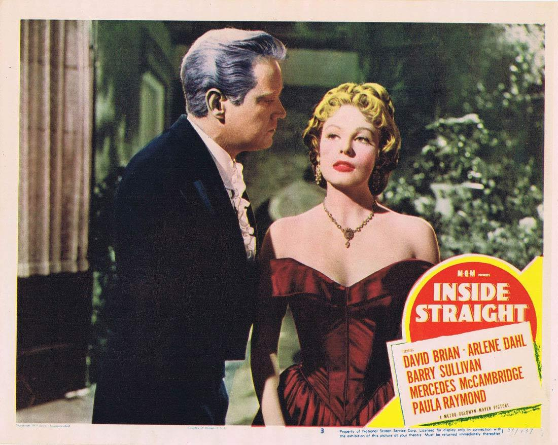 INSIDE STRAIGHT Lobby Card 3 David Brian Arlene Dahl Mercedes McCambridge