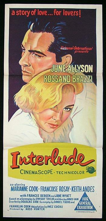 INTERLUDE Movie Poster 1957 June Allyson Rare daybill