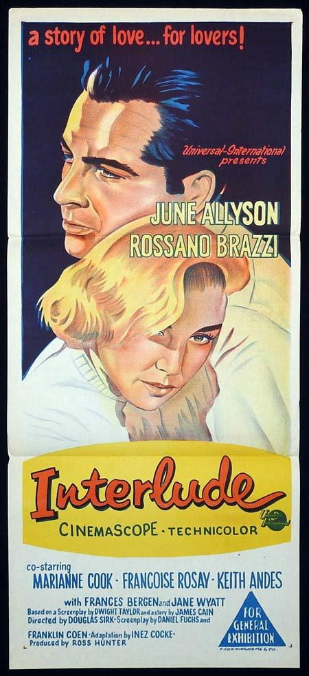 INTERLUDE Original Daybill Movie poster June Allyson Rossano Brazzi
