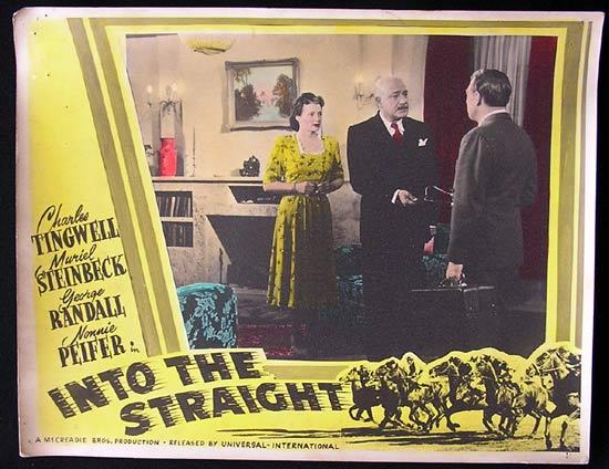 INTO THE STRAIGHT Australian Cinema Horseracing Memorabilia Lobby Card 1