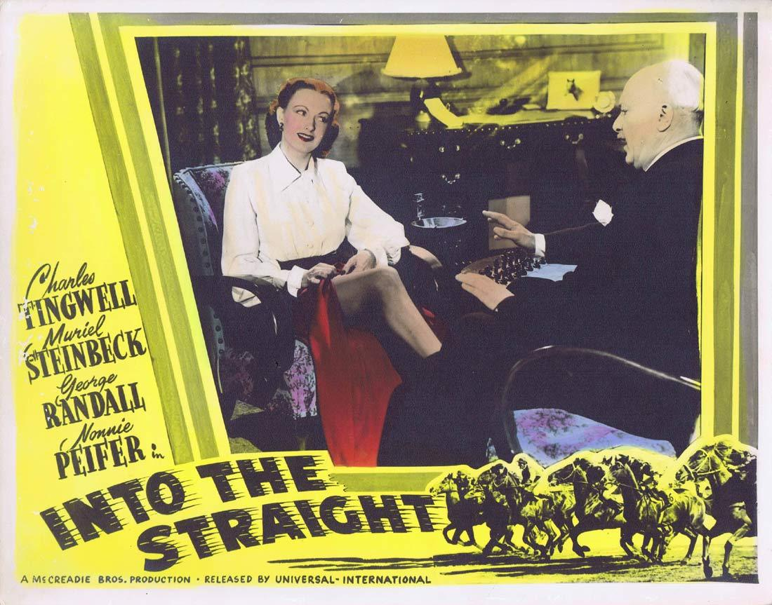 INTO THE STRAIGHT Movie Lobby Card 7 Australian Cinema Horseracing Memorabilia