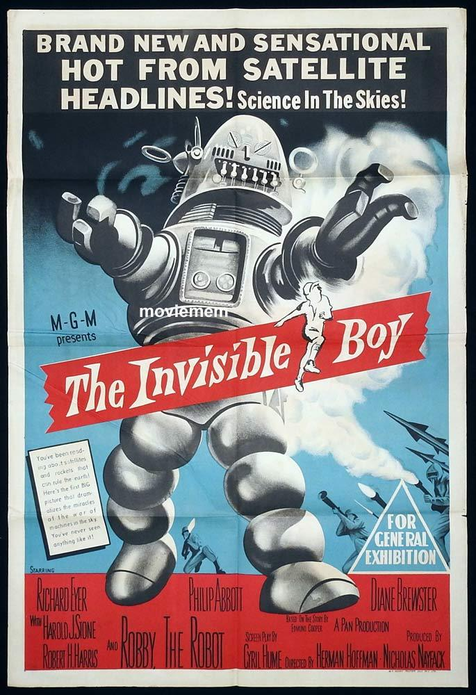 THE INVISIBLE BOY One Sheet Movie Poster Science Fiction Robby the Robot
