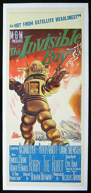 THE INVISIBLE BOY Linen Backed Daybill Movie poster 1957 Robby the Robot
