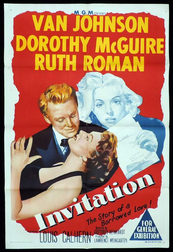 INVITATION One Sheet Movie Poster Van Johnson Doroty McGuire