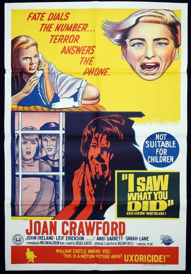 I SAW WHAT YOU DID Original One sheet Movie poster WILLIAM CASTLE Joan Crawford John Ireland