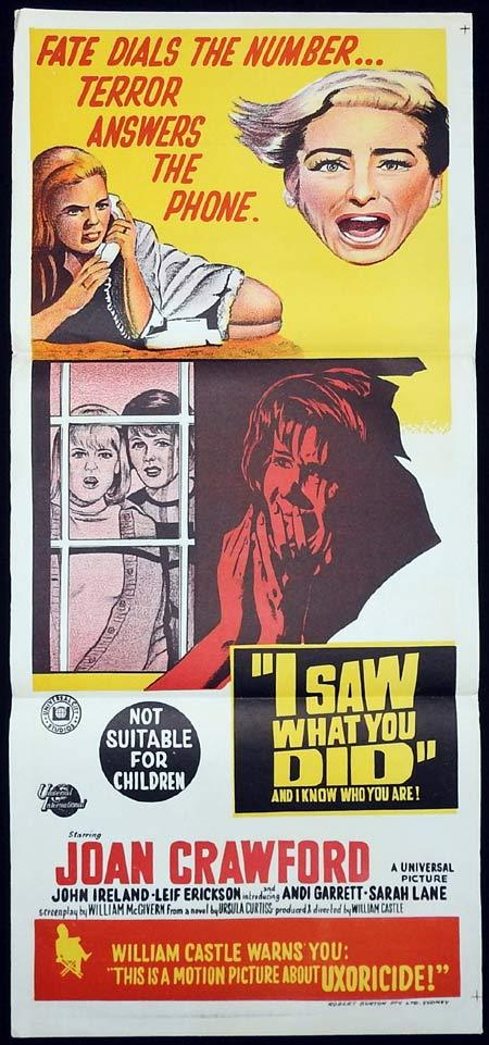 I SAW WHAT YOU DID Original Daybill Movie poster Joan Crawford John Ireland