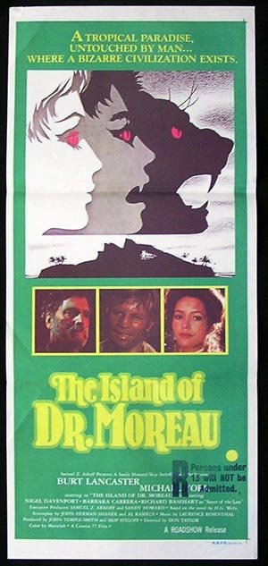 THE ISLAND OF DR MOREAU Original Daybill Movie Poster Burt Lancaster Michael York