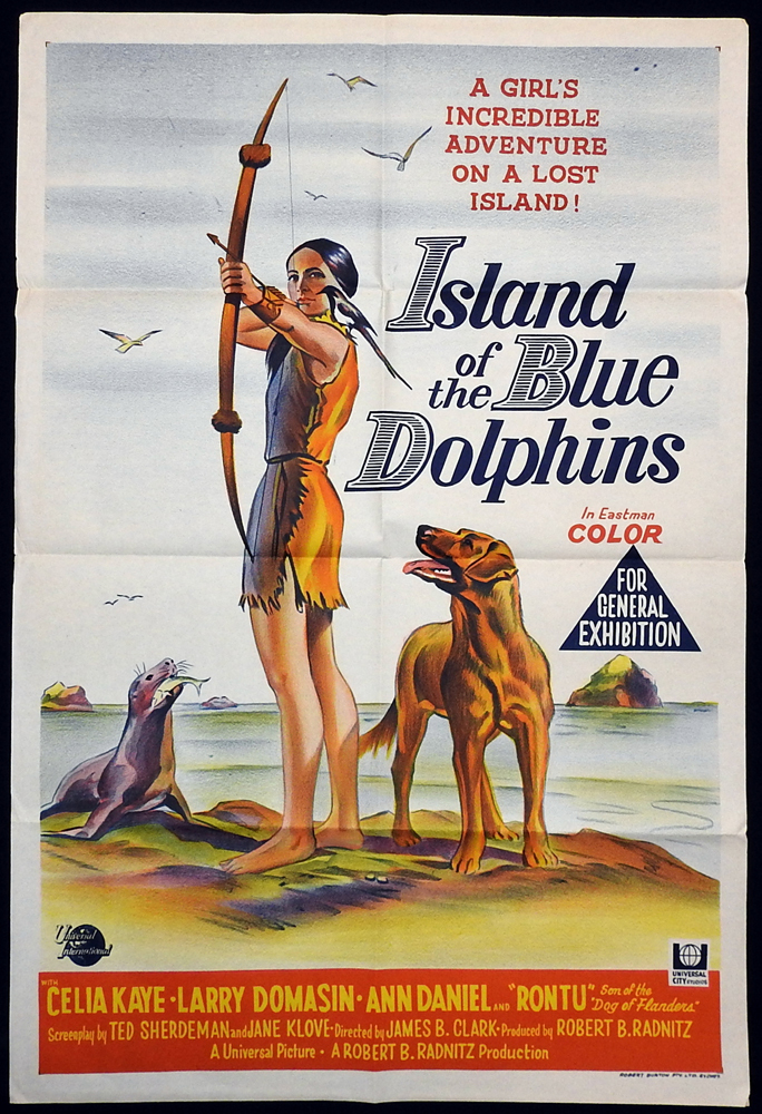 ISLAND OF THE BLUE DOLPHINS Original One sheet Movie poster Celia Kaye Larry Domasin