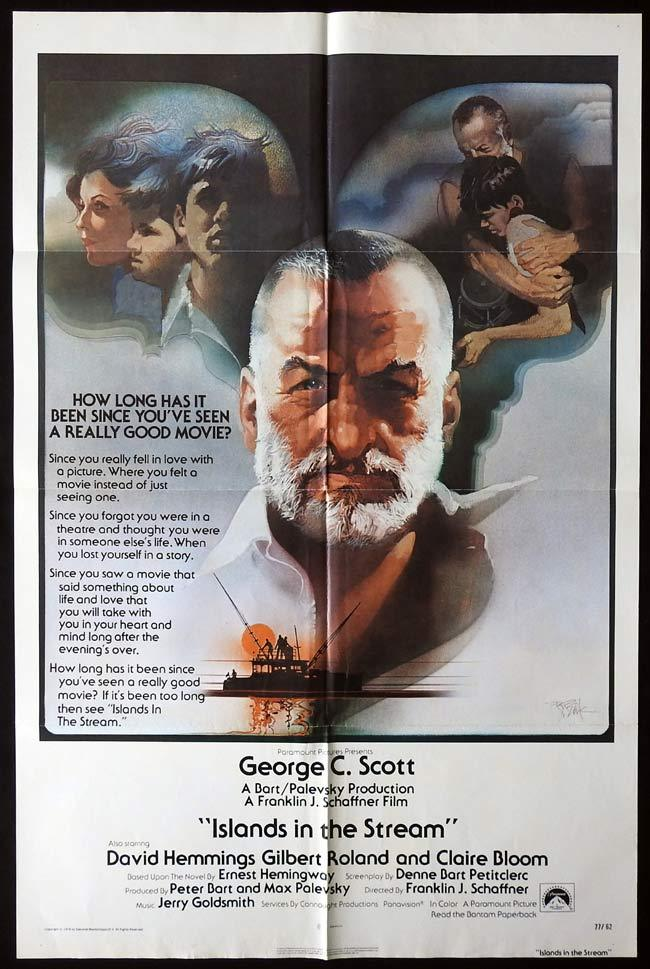 ISLANDS IN THE STREAM Original One sheet Movie poster BOB PEAK Art George C.Scott