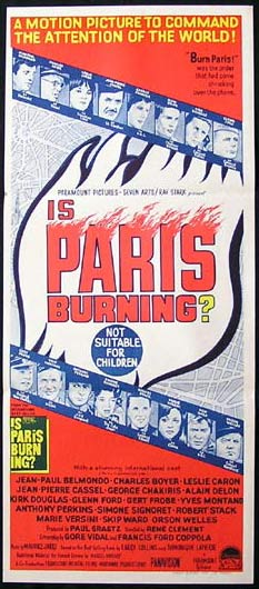 IS PARIS BURNING Movie Poster 1966 Coppola Vidal Belmondo Australian Daybill