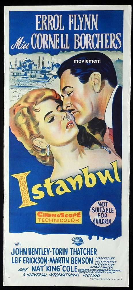 ISTANBUL Original Daybill movie poster Errol Flynn Cornell Borchers