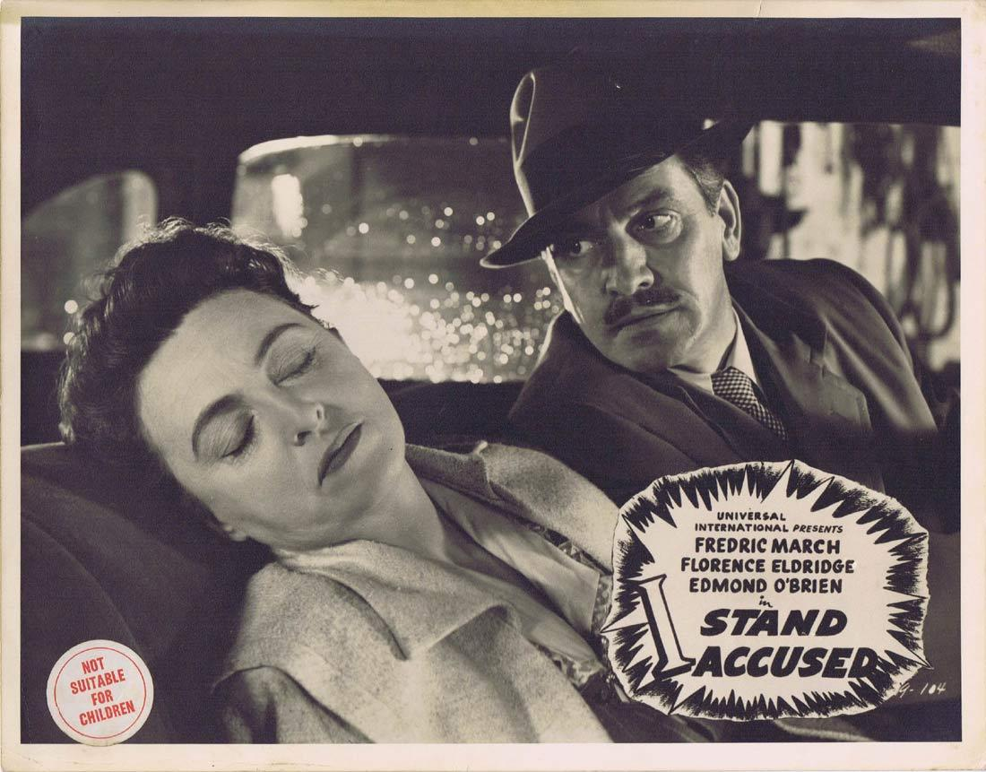 I STAND ACCUSED Lobby Card Fredric March Edmond O'Brien Florence Eldridge Film Noir