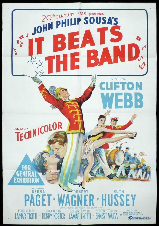 IT BEATS THE BAND Original One sheet Movie Poster Clifton Webb John Philip Sousa