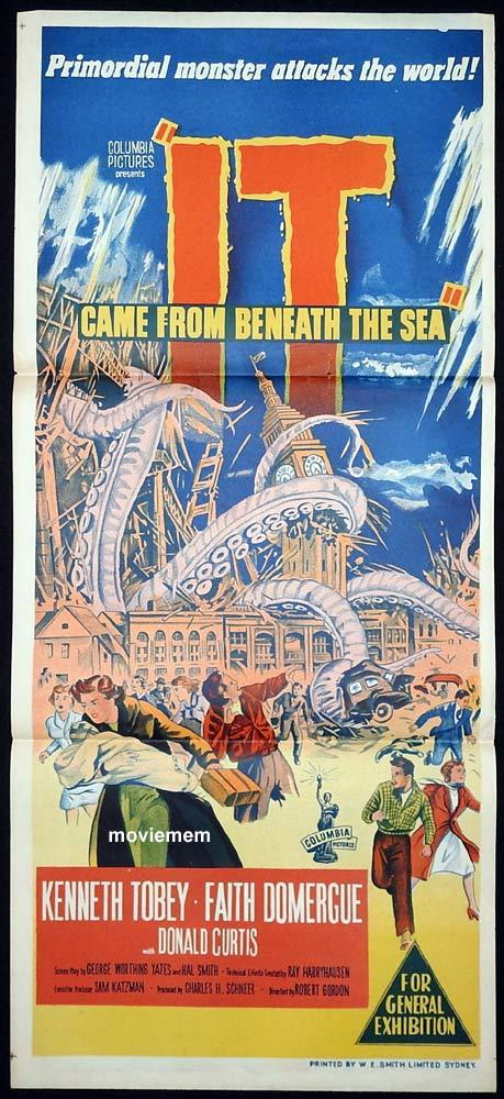 IT CAME FROM BENEATH THE SEA Original Daybill Movie Poster Kenneth Tobey SCI FI Faith Domergue