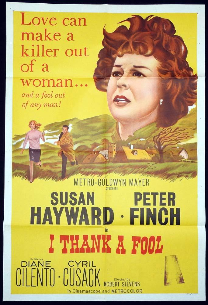 I THANK A FOOL Original One sheet Movie poster Susan Hayward Peter Finch