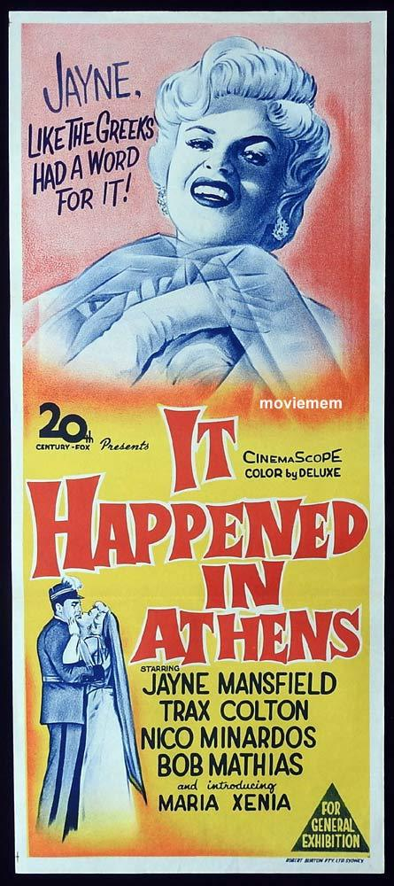 IT HAPPENED IN ATHENS Original Daybill Movie Poster Jayne Mansfield