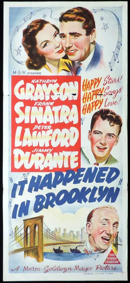 IT HAPPENED IN BROOKLYN Original Daybill Movie Poster Kathryn Grayson Frank SInatra