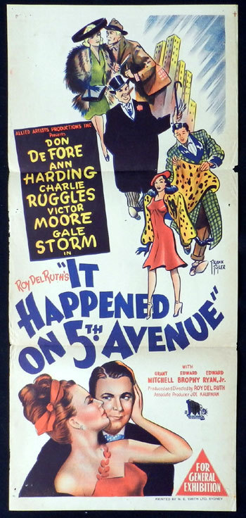 IT HAPPENED ON FIFTH AVENUE Daybill Movie Poster 1947 Don DeFore FRANK TYLER ART