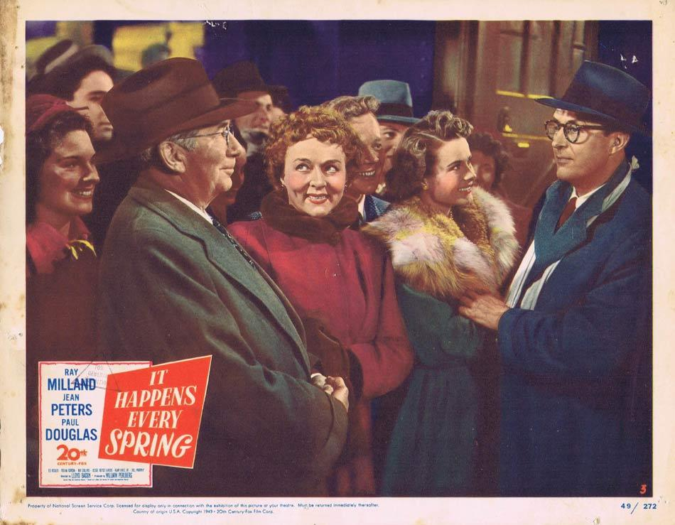 IT HAPPENS EVERY SPRING Lobby card Baseball Ray Milland Jessie Royce Landis Jean Peters