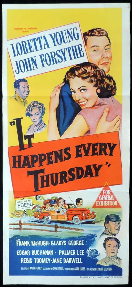 IT HAPPENS EVERY THURSDAY Original Daybill Movie Poster Loretta Young John Forsythe
