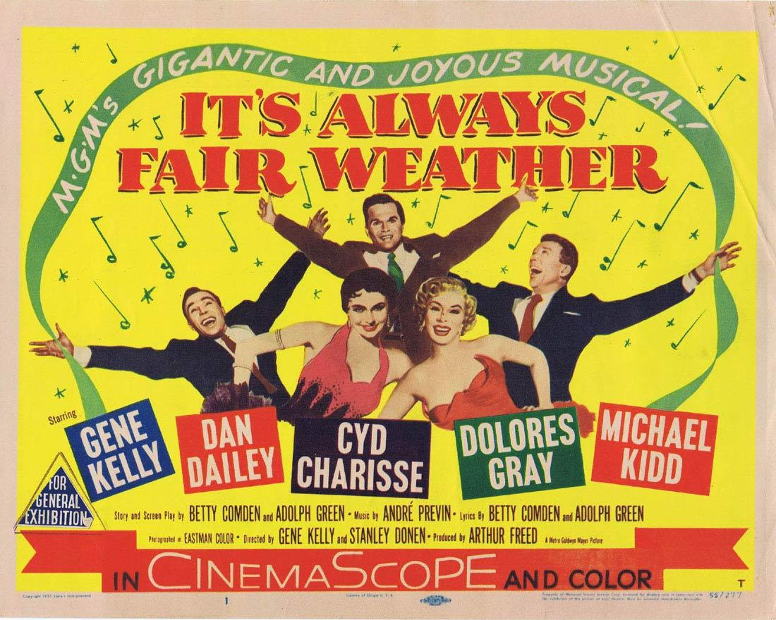 IT'S ALWAYS FAIR WEATHER 1955 Title Lobby Card Gene Kelly