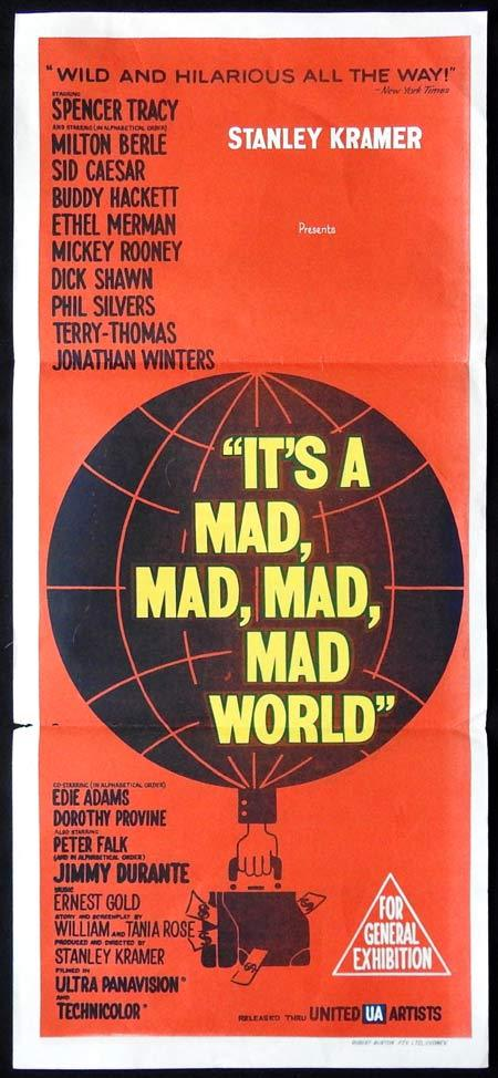 IT'S A MAD MAD MAD MAD WORLD Original Daybill Movie Poster Saul Bass design