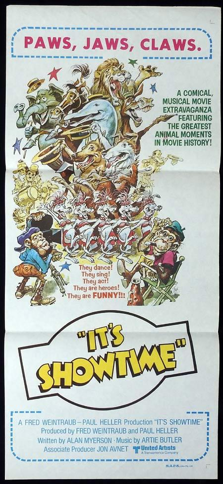 IT'S SHOWTIME Original Daybill Movie Poster PAWS JAWS CLAWS Jack Davis art