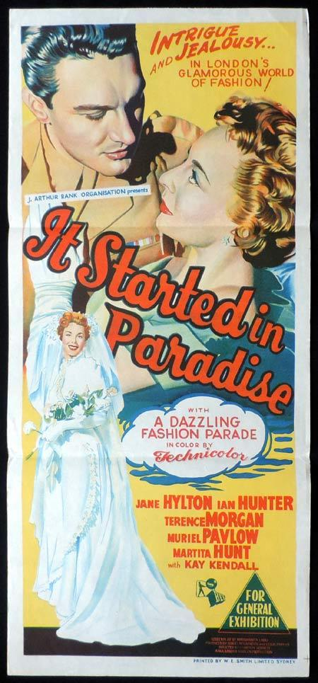 IT STARTED IN PARADISE Original Daybill Movie Poster Jane Hylton