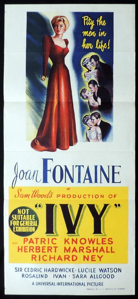 IVY Original Daybill Movie Poster Joan Fontaine Patric Knowles
