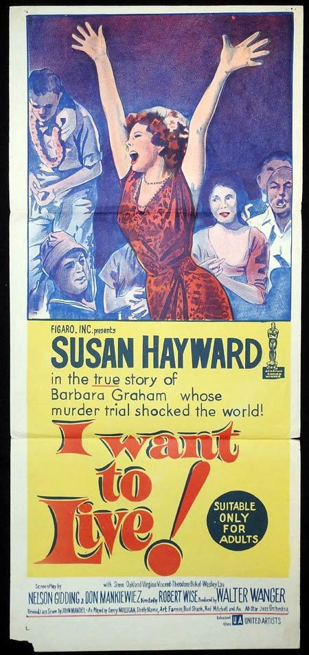 I WANT TO LIVE Original Daybill Movie Poster Susan Hayward Simon Oakland