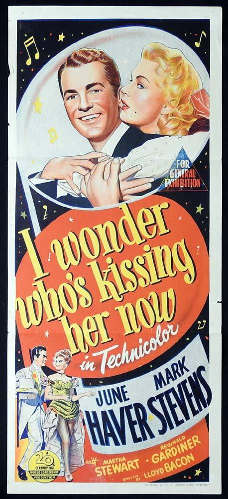 I WONDER WHO'S KISSING HER NOW Original Daybill Movie poster Mark Stevens June Haver