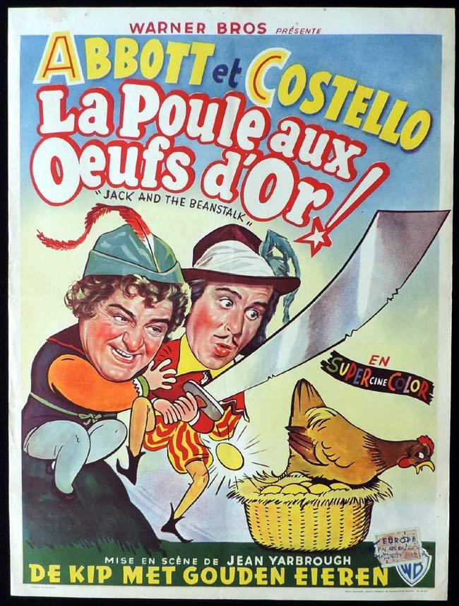 JACK AND THE BEANSTALK Original Belgian Movie poster Abbott and Costello