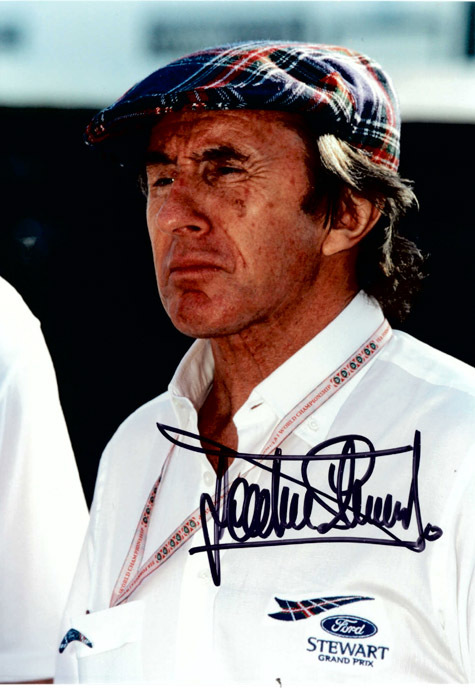 JACKIE STEWART Autograph 8 x 10 Photo Motor Racing